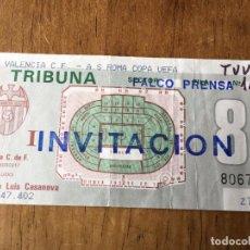 Coleccionismo deportivo: R2282 ENTRADA TICKET VALENCIA ROMA COPA DE LA UEFA 1990 1991. Lote 86353824