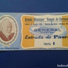 Collectionnisme sportif: ENTRADA DE FUTBOL ESTADIO MUNICIPAL RAMON DE CARRANZA RACING DE PARIS ATLETICO BILBAO 1957. Lote 86557088