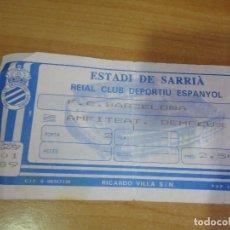 Coleccionismo deportivo: ENTRADA RCD ESPAÑOL VS FC BARCELONA ESTADIO SARRIA 1988 89 . Lote 86588344