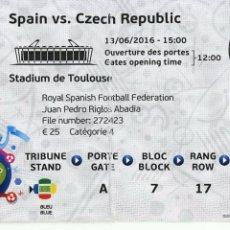 Coleccionismo deportivo: ENTRADA FOOTBALL FUTBOL TICKET ESPAÑA SPAIN CZECH REP CHECA EURO 2016 EUROCOPA. Lote 58015871