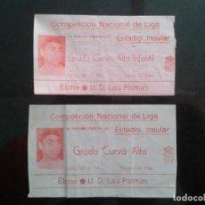 Coleccionismo deportivo: 2 ENTRADA DE FUTBOL ANTIGUA ELCHE-LAS PALMAS 28-9-1974. Lote 88094900