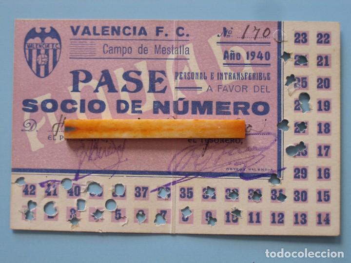 ENTRADA CAMPO MESTALLA 1940 PASE ANUAL VALENCIA C.F. (Coleccionismo Deportivo - Documentos de Deportes - Entradas de Fútbol)