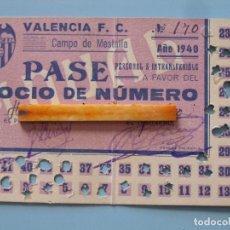Coleccionismo deportivo: ENTRADA CAMPO MESTALLA 1940 PASE ANUAL VALENCIA C.F.. Lote 89526264