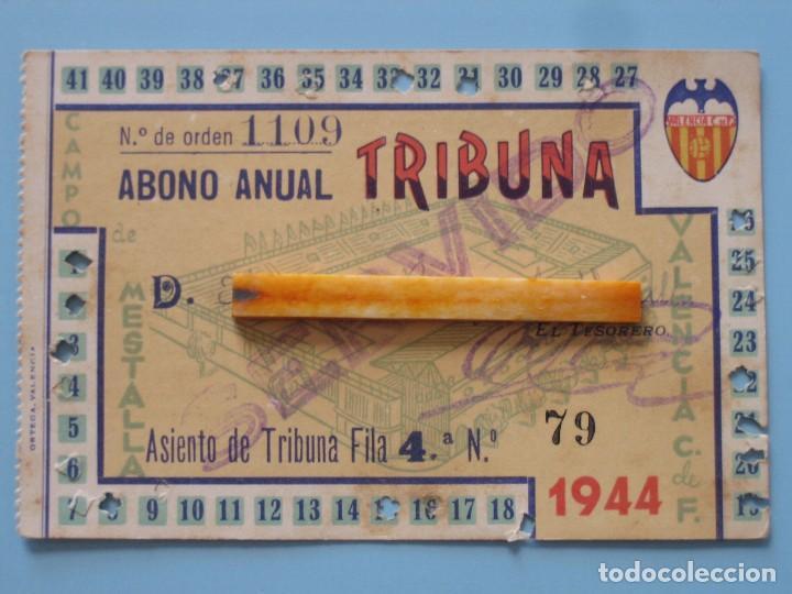 ENTRADA CAMPO MESTALLA TEMPORADA 1943 1944 PASE ANUAL VALENCIA C.F. (Coleccionismo Deportivo - Documentos de Deportes - Entradas de Fútbol)