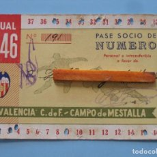 Coleccionismo deportivo: ENTRADA CAMPO MESTALLA 1946 PASE ANUAL VALENCIA C.F.. Lote 89526480