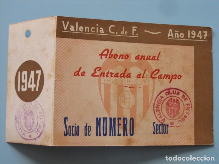 ENTRADA CAMPO MESTALLA 1947 PASE VALENCIA C.F. (Coleccionismo Deportivo - Documentos de Deportes - Entradas de Fútbol)