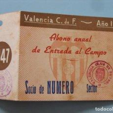 Coleccionismo deportivo: ENTRADA CAMPO MESTALLA 1947 PASE VALENCIA C.F.. Lote 89526528