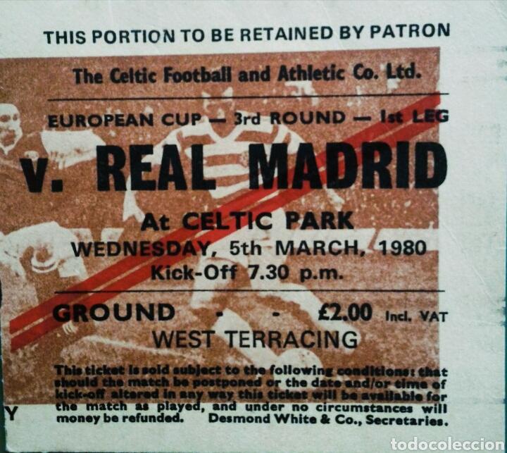 ENTRADA COPA DE EUROPA CELTIC REAL MADRID 1980 (Coleccionismo Deportivo - Documentos de Deportes - Entradas de Fútbol)