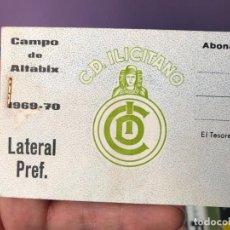 Coleccionismo deportivo: TACO DE ENTRADAS LATERAL PREFERENTE ABONADO - CAMPO DE ALTABIX 1969 70 - C.D. ILICITANO. Lote 91409880