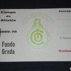 Coleccionismo deportivo: ABONO TACO ENTRADAS FONDO GRADA SEÑORA ABONADO CAMPO ALTABIX 1969 70 C.D. ILICITANO. Lote 94624790