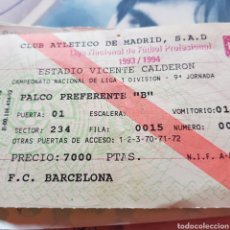 Coleccionismo deportivo: ENTRADA JORNADA 9 LIGA 1993/1994. VICENTE CALDERÓN. AT. MADRID - FC BARCELONA. Lote 95758007