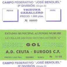 Coleccionismo deportivo: LOTE 4 ENTRADAS TEMPORADA 200/01 AD CEUTA BURGOS CF. Lote 96161811