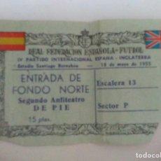 Coleccionismo deportivo: PARTIDO INTERNACIONAL ESPAÑA INGLATERRA 1955. Lote 96383927