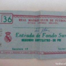 Coleccionismo deportivo: ENTRADA REAL MADRID CONTRA EL ATLÉTICO DE MADRID DE LA LIGA 1965. Lote 96384295