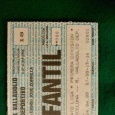 Coleccionismo deportivo: ENTRADA INFANTIL DE FUTBOL - PARTIDO REAL VALLADOLID-BARCELONA - ESTADIO ZORRILLA - 24 ABRIL DE 1988. Lote 97501039