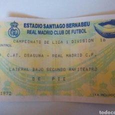 Coleccionismo deportivo: ANTIGUA ENTRADA REAL MADRID LIGA FIRMADA POR IGNACIO ZOCO. Lote 98017372