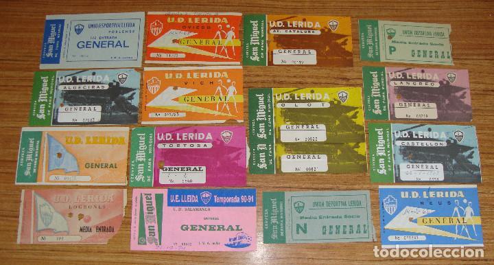 (ALB-TC-18) ENTRADAS DE FUTBOL U.D. LERIDA, U.E. LLEIDA PUBLICIDAD CERVEZA SAN MIGUEL VER FOTOS (Coleccionismo Deportivo - Documentos de Deportes - Entradas de Fútbol)