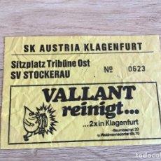 Collectionnisme sportif: R3027 ENTRADA TICKET SK AUSTRIA KLAGENFURT SV STOCKERAU AUSTRIA FUTBOL. Lote 98658175