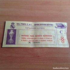 Coleccionismo deportivo: ANTIGUA ENTRADA FUTBOL ESTADIO SANTIAGO BERNABEU REAL MADRID YOUNG BOYS COPA EUROPA 1986. Lote 99459391