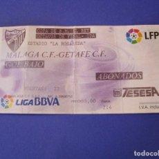 Coleccionismo deportivo: ENTRADA FÚTBOL. MALAGA - GETAFE. COPA DEL REY. OCTAVOS DE FINAL IDA. 2010.. Lote 101208591