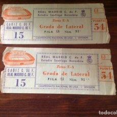 Coleccionismo deportivo: 2 ENTRADAS FÚTBOL S. BERNABÉU CÁDIZ C.F.-REAL MADRID. Lote 101535230