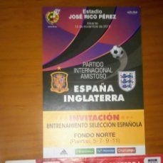 Coleccionismo deportivo: PARTIDO ESPAÑA - INGLATERRA ENTRADA Y ENYRADA ENTRENAMIENTO. Lote 101781167