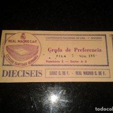 Coleccionismo deportivo: ENTRADA ANTIGUA CADIZ-REAL MADRID. Lote 104022811