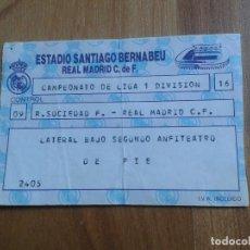 Coleccionismo deportivo: ENTRADA - REAL SOCIEDAD REAL MADRID - 1º DIVISIÓN - LATERAL BAJO 2º ANFITEATRO - SANTIAGO BERNABEU. Lote 104060479