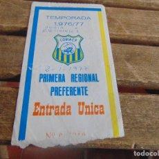 Coleccionismo deportivo: ENTRADA DE FUTBOL CORIA TEMPORADA 1976 77. Lote 104955623