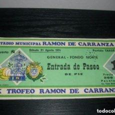 Coleccionismo deportivo: -ENTRADA XX TROFEO CARRANZA 1974 - BARCELONA - ESPAÑOL - PALMEIRAS - SANTOS. Lote 106093879
