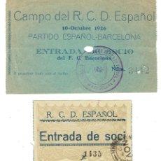 Coleccionismo deportivo: LOTE DOS ANTIGUAS ENTRADAS RCD ESPAÑOL AÑOS 20. Lote 108772415