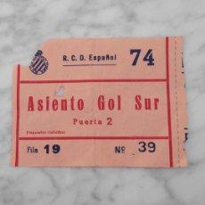 Colecionismo desportivo: ENTRADA DE FÚTBOL - ESTADIO SARRIÁ - R.C.D. ESPAÑOL - ASIENTO GOL SUR. Lote 108894087