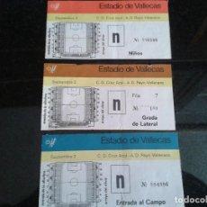 Coleccionismo deportivo: 3 ENTRADAS ANTIGUAS C.D.CRUZ AZUL-A.D.RAYO VALLECANO. Lote 109067727