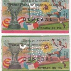 Coleccionismo deportivo: 2 ENTRADAS DE FÚTBOL ESTADIO DE LA ROSALEDA ( MÁLAGA ) 1º TORNEO INTERNACIONAL COSTA DEL SOL . Lote 109787871
