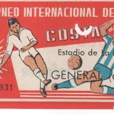 Coleccionismo deportivo: ENTRADA DE FÚTBOL ESTADIO DE LA ROSALEDA ( MÁLAGA ) II TORNEO INTERNACIONAL COSTA DEL SOL . 1962. Lote 109795259