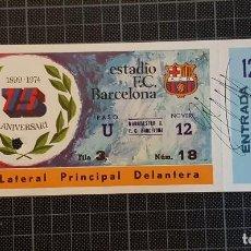 Coleccionismo deportivo: FC BARCELONA BARÇA ENTRADA 75 ANIVERSARIO FIRMADA CRUYFF ENTERA SIN CORTAR. Lote 110441023