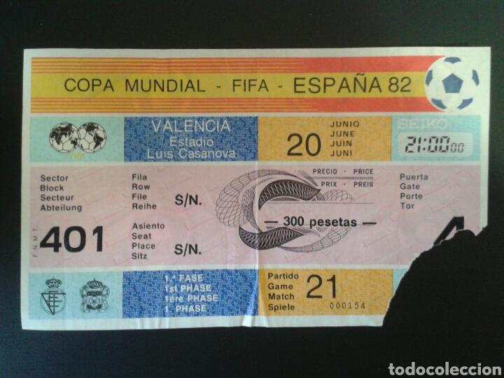 ENTRADA MUNDIAL ESPAÑA 82. ESPAÑA - YUGOSLAVIA. 20 DE JUNIO ESTADIO LUIS CASANOVA VALENCIA VER FOTOS (Coleccionismo Deportivo - Documentos de Deportes - Entradas de Fútbol)