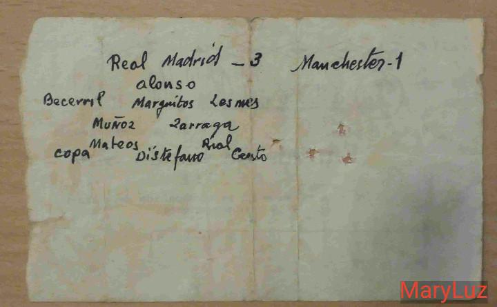 Coleccionismo deportivo: ENTRADA BERNABÉU. R.MADRID-MANCHESTER UNITED (3-1).Semifinal 2ª Copa Europa.11 Abril 1957.Ver fotos - Foto 2 - 110299563