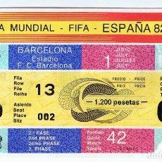 Coleccionismo deportivo: ENTRADA FUTBOL COPA MUNDIAL FIFA ESPAÑA 82 PARTIDO 42 BARCELONA 1º JULIO . Lote 111397927