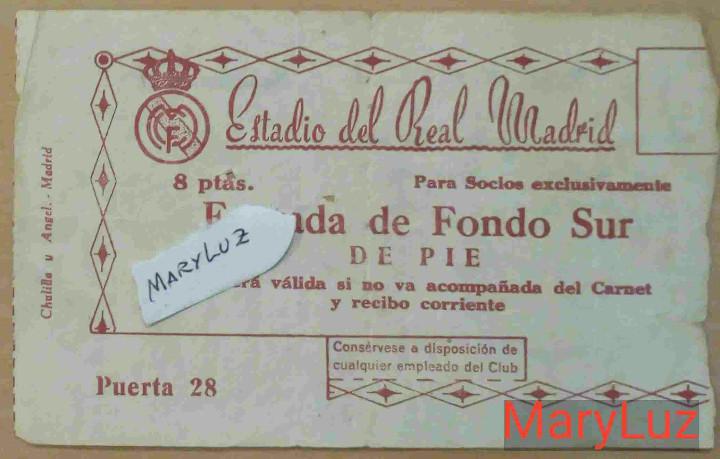ENTRADA BERNABÉU. R.MADRID-MANCHESTER UNITED (3-1).SEMIFINAL 2ª COPA EUROPA.11 ABRIL 1957.VER FOTOS (Coleccionismo Deportivo - Documentos de Deportes - Entradas de Fútbol)