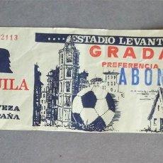 Coleccionismo deportivo: ANTIGUA ENTRADA FUTBOL ESTADIO LEVANTE UD PUBLICIDAD CERVEZA EL AGUILA. Lote 112809619