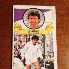 Coleccionismo deportivo: ESTE 1985-1986 JUANITO VERSION SIN PUBLICIDAD REAL MADRID 85-86 NUNCA PEGADO SIN PEGAR. Lote 113712691