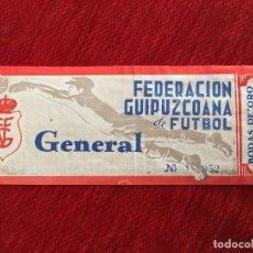 Coleccionismo deportivo: R3963 ENTRADA TICKET FEDERACION GUIPUZCOANA DE FUTBOL BODAS DE ORO 1918 1968. Lote 114311851