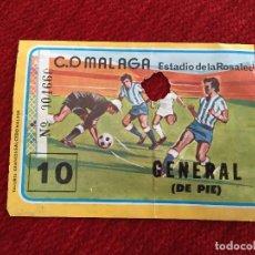 Coleccionismo deportivo: R3969 ENTRADA TICKET FUTBOL C.D. MALAGA ESTADIO LA ROSALEDA NUMERO 10 CERVEZA SAN MIGUEL. Lote 114311991