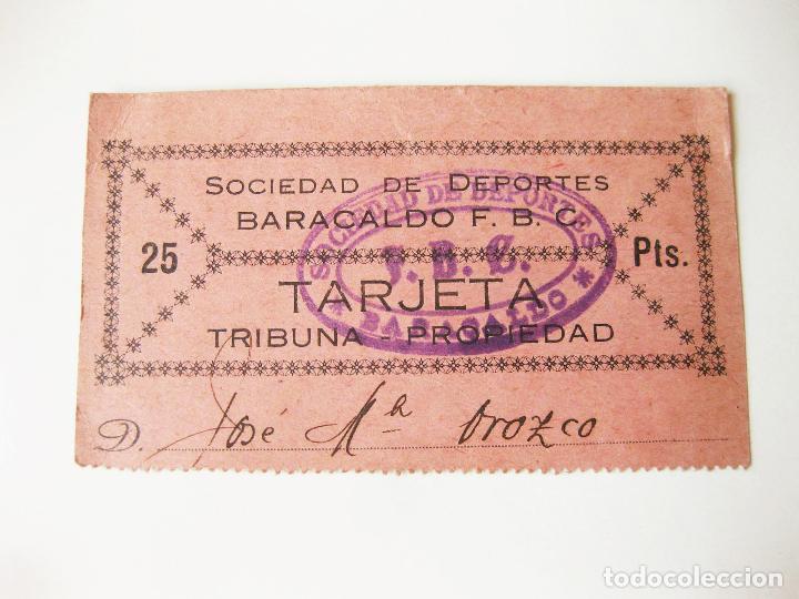 ENTRADA DE PARTIDO DEL SOCIEDAD DE DEPORTES BARACALDO FUTBOL CLUB - BARAKALDO - AÑOS 20 (Coleccionismo Deportivo - Documentos de Deportes - Entradas de Fútbol)