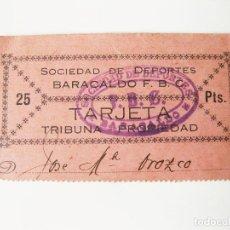 Coleccionismo deportivo: ENTRADA DE PARTIDO DEL SOCIEDAD DE DEPORTES BARACALDO FUTBOL CLUB - BARAKALDO - AÑOS 20. Lote 115372403