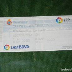 Coleccionismo deportivo: ENTRADA ESPAÑOL - MALAGA LIGA DE FUTBOL TEMPORADA 2010 - 2011 JORNADA 10. Lote 116679663