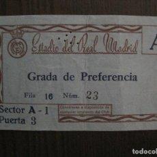Coleccionismo deportivo: ENTRADA ANTIGUA - ESTADIO DEL REAL MADRID - VER FOTOS -(V-14.269). Lote 118356503