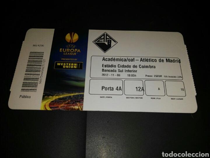 ENTRADA TICKET ACADEMICA COIMBRA-ATLÉTICO MADRID 12-13 (Coleccionismo Deportivo - Documentos de Deportes - Entradas de Fútbol)