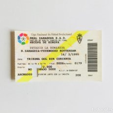 Coleccionismo deportivo: ENTRADA RECOPA 1995. REAL ZARAGOZA - FEYENOORD, CUARTOS DE FINAL. ESTADIO ROMAREDA. FÚTBOL. . Lote 120890419